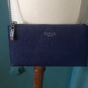 Beautiful blue saciando leather wallet on chain